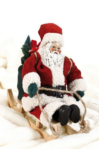 Santa Claus on a sleigh, decoration figurine : Stock Photo