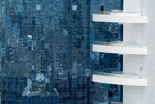 Stock Photo: 1848-214564 High_rise building, glass facade, detail, Dubai, United Arab Emirates, Middle East