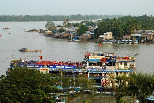 Hau River, Can Tho in the Mekong Delta, Vietnam : Stock Photo
