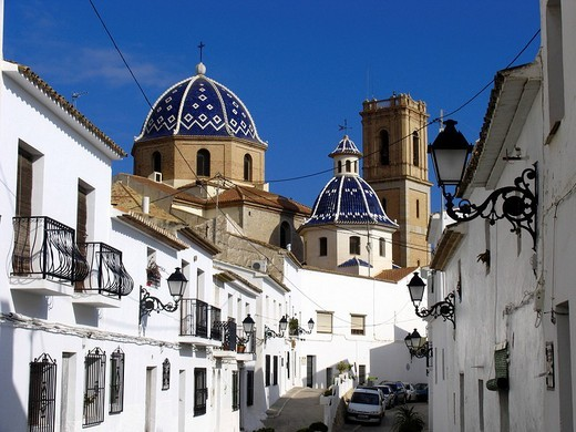 The wellknown church La Mare de Deu del Consol, old town, Altea, Spain : Stock Photo