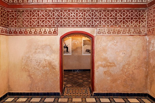 Interior rooms at a traditional Hamam Turkish baths, Dar Mnebhi Palace, Musée Privé de Marrakesh, Morocco, Africa : Stock Photo