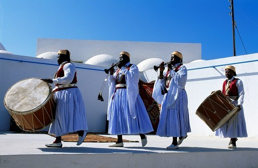 Musicians performing at a Berber wedding, Midoun, Djerba, Tunisia, Africa : Stock Photo