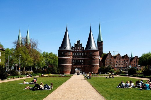 Stock Photo: 1848-215511 Holsentor, Holsten Gate, Luebeck, Schleswig_ Holstein, Germany, Europe