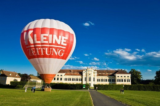 Stock Photo: 1848-215626 Hot air balloon in front of the Schielleiten Baroque Palace, Stubenberg am See, Hartberg, Styria, Austria, Europe