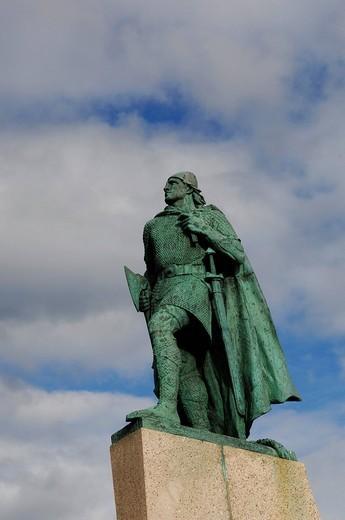 Statue of Leifur Eriksson, Reykjavik, Iceland, Europe : Stock Photo