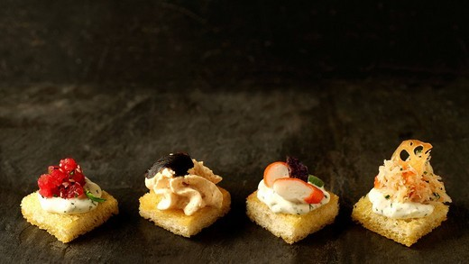 Stock Photo: 1848-215842 Apéro, bruscetta with tuna, foie gras, surimi and crab meat, Haute Cuisine, La Baroche, Alsace, France, Europe