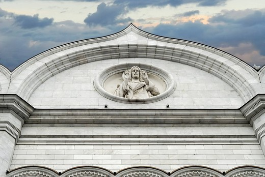 Stock Photo: 1848-216112 Fragment of facade, Cathedral the of Christ the Saviour, Moscow, Russia