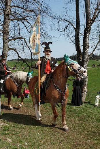 Stock Photo: 1848-216219 Georgiritt, George´s Ride, Easter Monday procession to the Ettendorf Church, Traunstein, Chiemgau, Upper Bavaria, Bavaria, Germany, Europe
