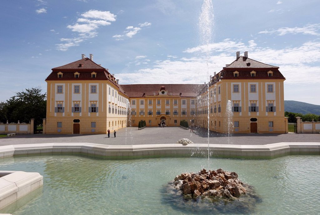 Stock Photo: 1848-216288 Neptunbrunnen fountain and main courtyard, Schloss Hof castle in Schlosshof, Marchfeld, Lower Austria, Austria, Europe