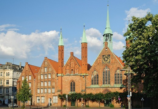 Heiligen_Geist_Hospital, Holy Spirit Hospital, at the Koberg in Luebeck, Schleswig_Holstein, Germany, Europe : Stock Photo