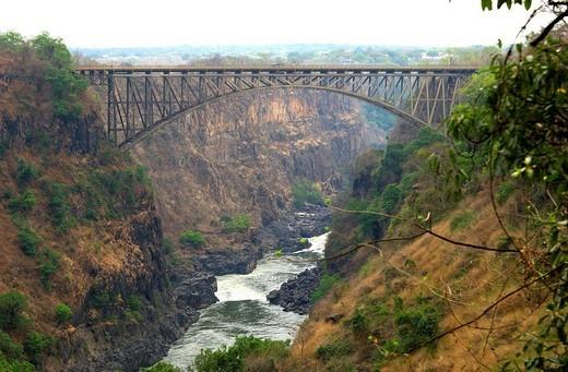 Stock Photo: 1848-216666 Victoria Falls bridge spanning the Zambezi river, Victoria Falls, Zimbabwe