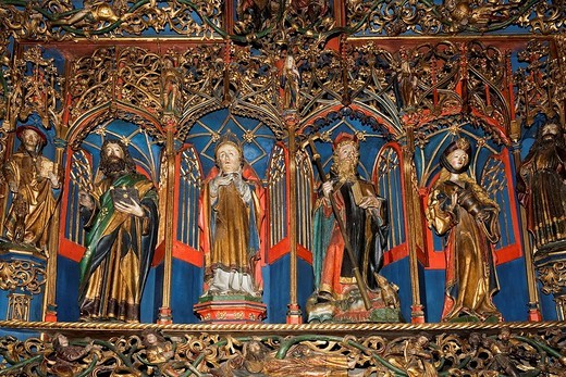 Stock Photo: 1848-216741 Carved figures of the Antoniusaltar, cathedral St. Victor, Xanten, Lower Rhine, Germany