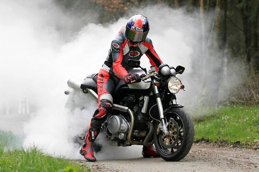 Burn_out, Voxan motorcycle : Stock Photo