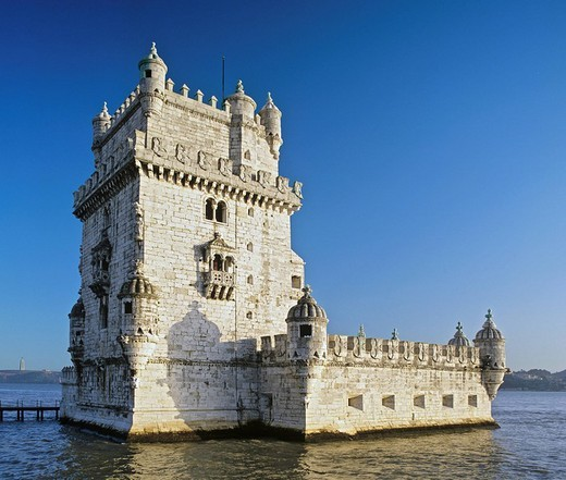 Torre de Belem, built 1515, lighthouse built in the Manueline or Portuguese late Gothic style, mouth of the Tagus River, Lisbon, Portugal : Stock Photo