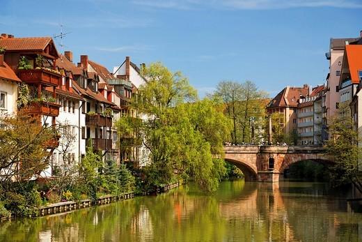 Karlsbruecke Bridge, Pegnitz River, historic city centre, Nuremberg, Middle Franconia, Bavaria, Germany, Europe : Stock Photo