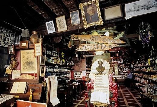 Historic Salsamenteria and Bodega Baratta, Verdi decorations, Busseto, province of Parma, Emilia_Romagna, Italy, Europe : Stock Photo