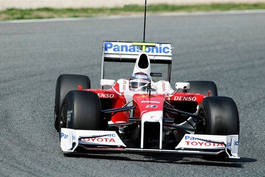 Stock Photo: 1848-218062 Jarno Trulli in the Toyota TF109 during Formula One testing sessions on Circuit de Catalunya near Barcelona, Spain