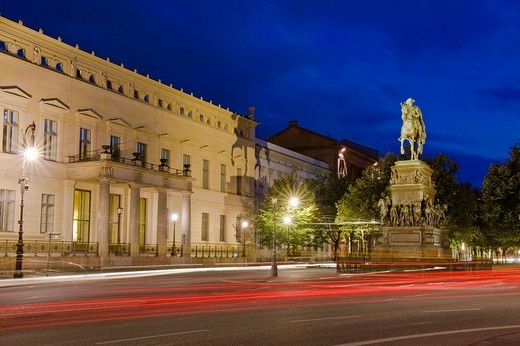 Unter den Linden with equestrian statue of Frederick II, also known as Frederick the Great or Old Fritz, Mitte, Berlin, Germany, Europe : Stock Photo
