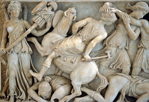 Sarcophagus_relief, Nereides and Tritons with shield, gallery, Capitoline Museums, Palazzo Nuovo, Capitoline Hill, Rome, Lazio, Italy, Europe : Stock Photo