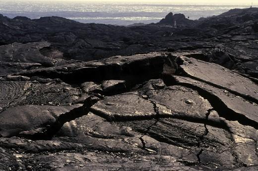 Igneous rocks at the coast of Big Island Hawaii, USA : Stock Photo