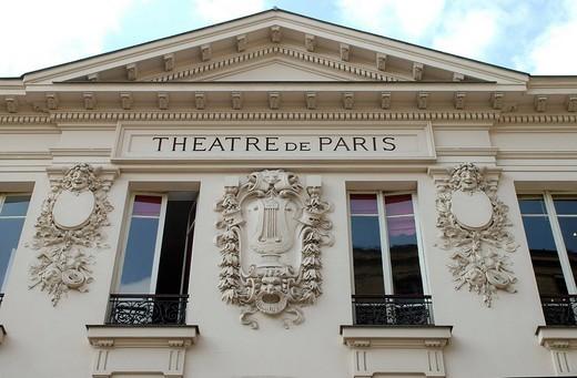 Theatre de Paris, gable, Montmartre, Paris, Ile_de_France, France : Stock Photo