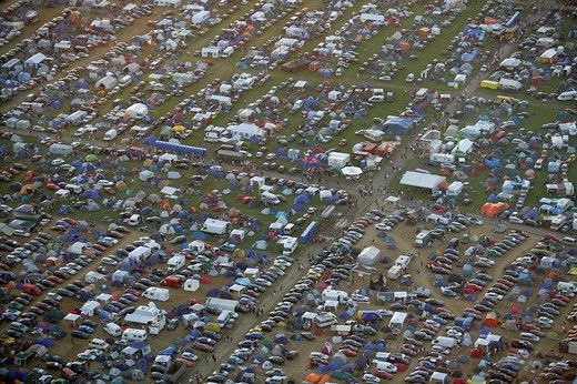 More than 50000 raver are camping near a techno_party near Kastellaun , Rhineland_Palatinate, Germany : Stock Photo