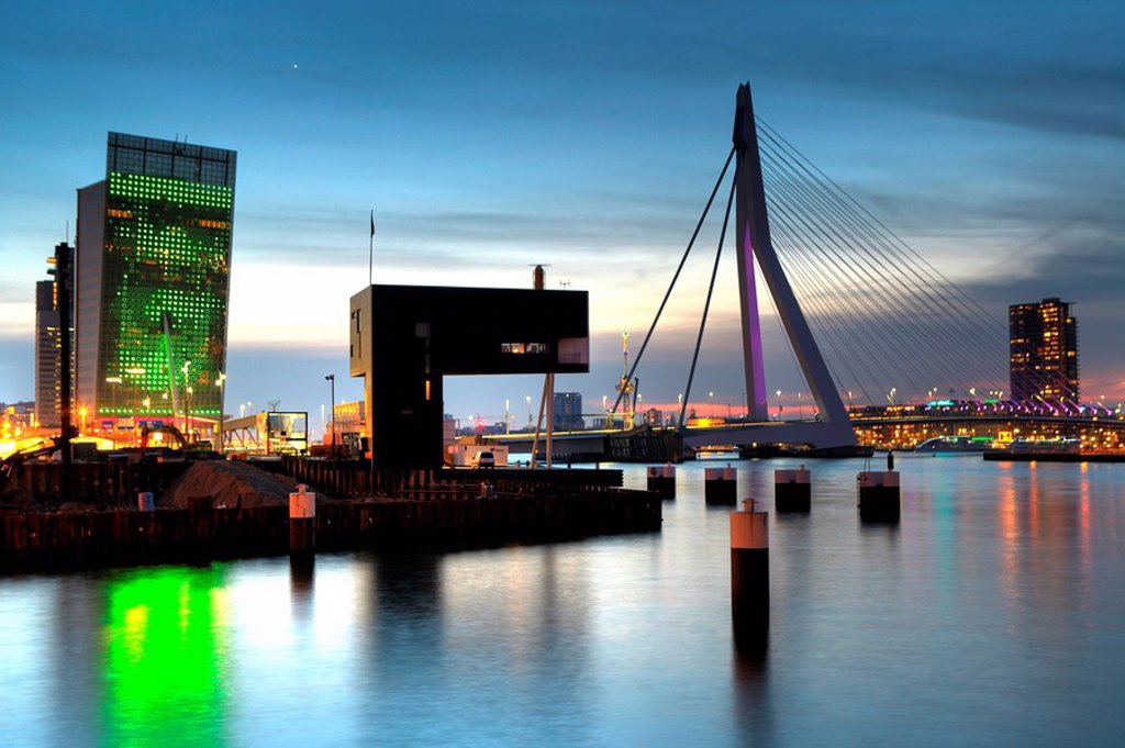 Stock Photo: 1848-219100 Erasmusbrug bridge over the Maas river with Telekom building to the left, Rotterdam, The Netherlands, Europe