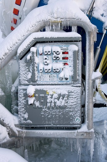 Stock Photo: 1848-219101 Frozen control panel of a snowgun