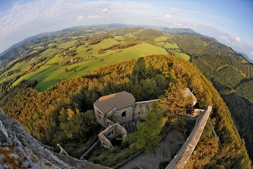 Stock Photo: 1848-219280 View from the tower of Araburg Castle onto other parts of the castle near Kaumberg, Triestingtal, Lower Austria, Austria, Europe