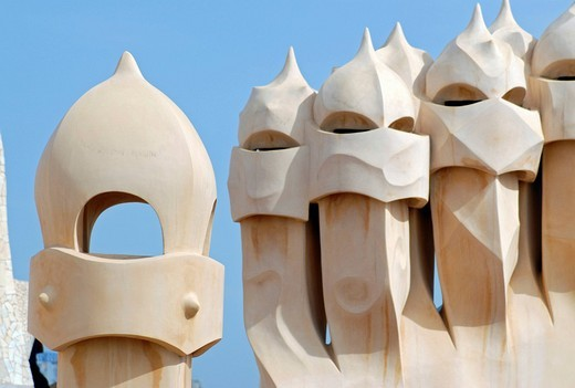 Warrior_like chimneys on the roof terrace of Casa Milá, La Pedrera, residential building by Catalan architect Antoni Gaudi on the Passeig de Gracia, Eixample District, Barcelona, Catalonia, Spain, Europe : Stock Photo