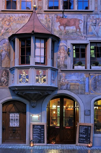 Stock Photo: 1848-219808 Historic facade with a bay window, Stein am Rhein, Canton of Schaffhausen, Switzerland, Europe