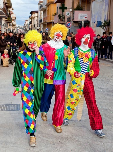 Stock Photo: 1848-220020 Three men dressed up as clowns, carnival on Shrove Tuesday, Balestrate, Sicily, Italy, Southern Europe