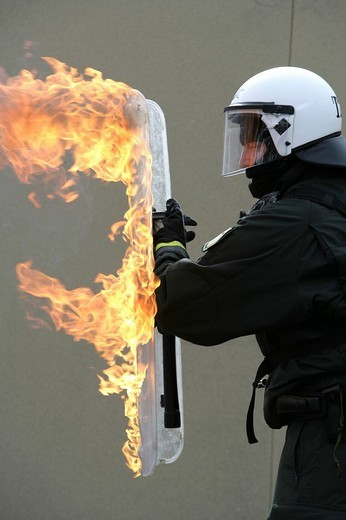DEU Germany Muenster: Police exercise fire training. , : Stock Photo