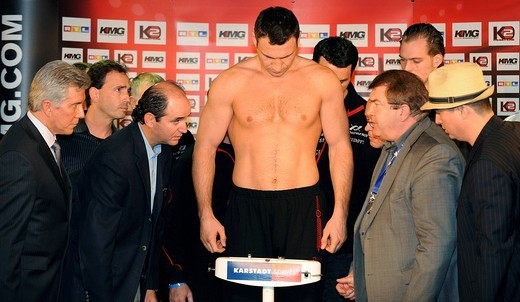 Boxing World Championship fight WBC Super Vitali Witali KLITSCHKO at the official weigh_in : Stock Photo