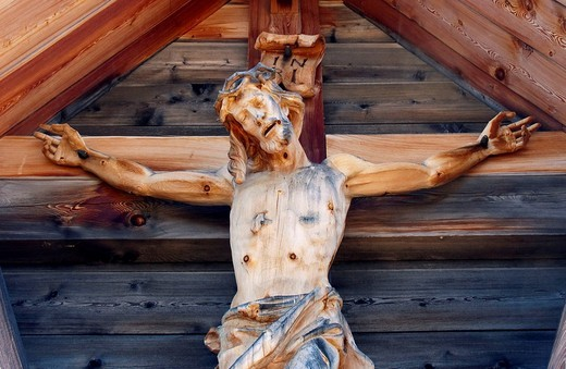 Stock Photo: 1848-220132 Crucifix, on a mountain of the Karwendel Range, Tyrol, Austria, Europe
