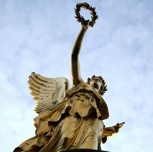 Victoria, designed by Christian Daniel Rauch, Hakenberg victory column, Fehrbellin, Brandenburg, Germany, Europe : Stock Photo