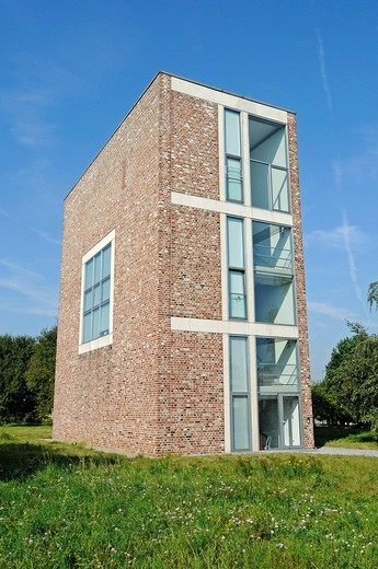 Modern architecture, building, former missile base, art museum, Langen Foundation, architect Tadao Ando, Hombroich, Kreis Neuss district, North Rhine_Westphalia, Germany, Europe : Stock Photo