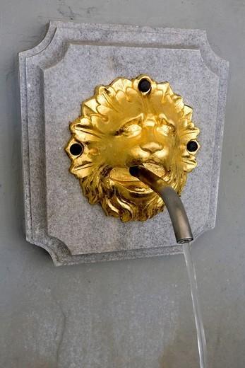 Elisenbrunnen, lions head, gargoyle, Aachen, NRW, Germany : Stock Photo