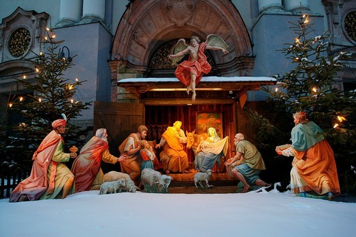 Crib in front of St Anne Basilica, Altoetting, Upper Bavaria, Germany : Stock Photo