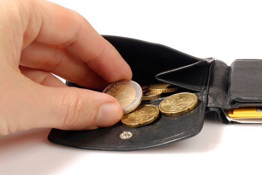 Stock Photo: 1848-221061 Purse with euro coins