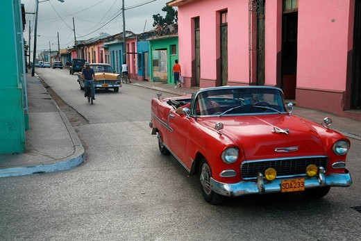 Stock Photo: 1848-221413 Vintage car in the streets of Trinidad, Sancti_Spíritus Province, Cuba, Latin America