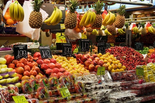 Stock Photo: 1848-221484 Market stall at the Mercat de la Boqueria market, Barcelona, Spain, Europe