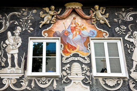 Stock Photo: 1848-221552 Lueftlmalerei, frescos or house paintings, Garmisch_Patenkirchen, Werdenfelser Land, Upper Bavaria, Bavaria, Germany, Europe