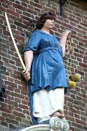 Justice statue in front of the old town hall, Hindeloopen, Ijsselmeer, Friesland, The Netherlands, Europe : Stock Photo