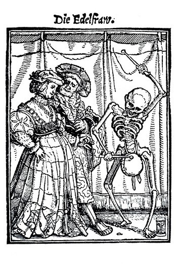 Woodcut, The Noblewoman, Hans Holbein the Younger, Dance of Death, 1538 : Stock Photo