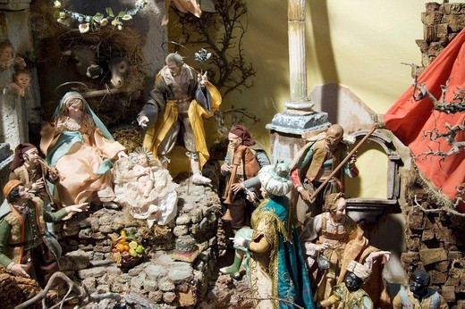 Traditional Neapolitan nativity set in the church of San Domenico Maggiore, Naples, Campania, Italy, Europe : Stock Photo
