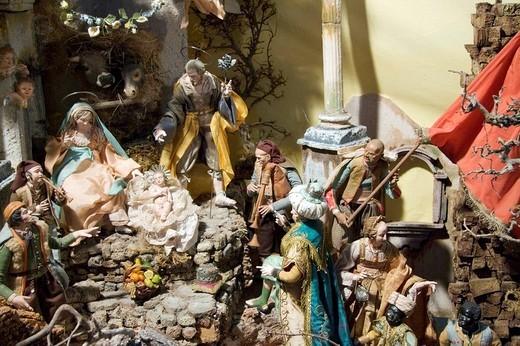 Stock Photo: 1848-221912 Traditional Neapolitan nativity set in the church of San Domenico Maggiore, Naples, Campania, Italy, Europe