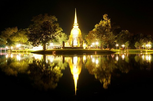 Wat Sa Si Temple in the temple of the Unesco World Heritage Site, Sukhotai, Thailand, Asia : Stock Photo