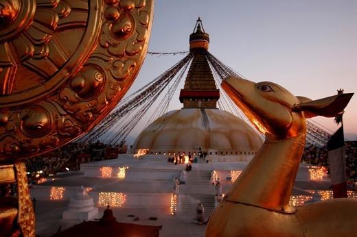Stupa at dusk in Bodnath, a northeastern suburb of Kathmandu, Nepal, Asia : Stock Photo