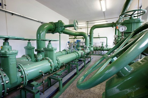 Natural gas transfer station, here natural gas is conducted from the high pressure gas pipeline and inducted into the main regional power supply, gas pressure control system of ELE, Emscher_Lippe_Energy, regional energy provider in the Ruhr Area, Gelsenki : Stock Photo
